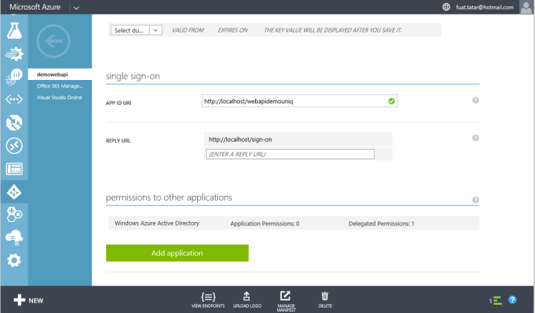 Azure Add Application