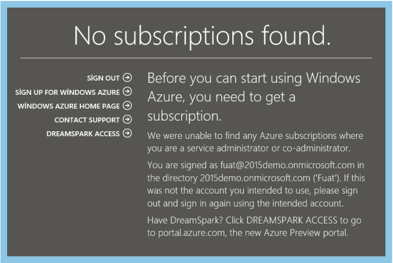 Dynamics CRM Online Azure No subscriptions found