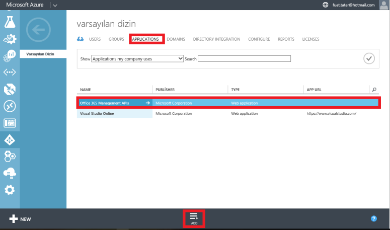 CRM Online Add Application Azure